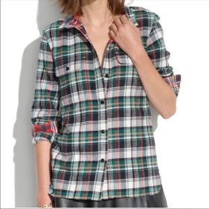 Madewell medium plaid flannel button up top